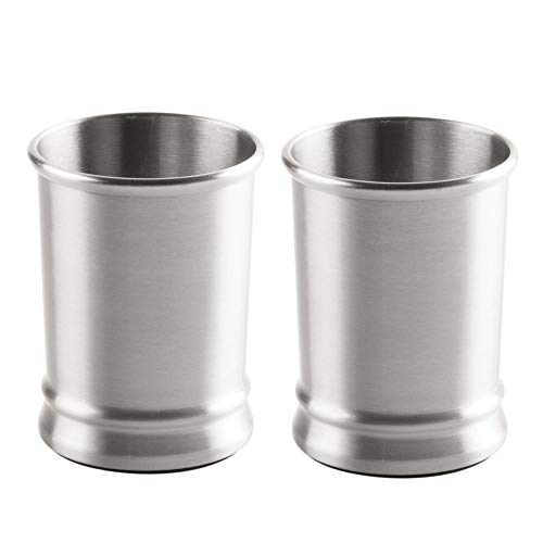 Cup Mouthwash - mDesign Modern Round Metal Tumbler Cup for Bathroom Vanity Countertops for Rinsing, Drinking, Storing Dental Accessories and Organizing Makeup Brushes, Eye Liners - 2 Pack - Brushed