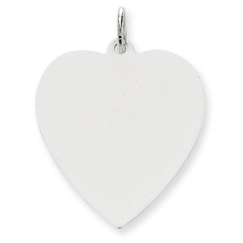 Icecarats Créatrice De Bijoux 14K Plaine Charme Coeur Gravé 0,018 Jauge De L'Or Blanc