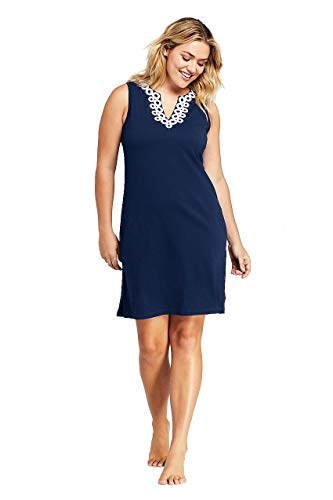 - Lands' End Women's Plus Size Cotton Jersey Embellished Sleeveless Swim Cover-up Dress