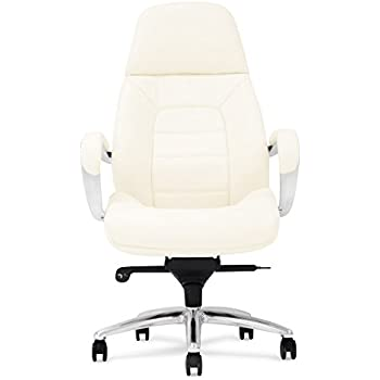 office chair genuine leather white. Gates Genuine Leather Aluminum Base High Back Executive Chair - Cream Office White W