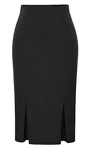 Vertvie Femme Midi Jupe Crayon Moulante Courte Bodycon Business Bureau Style OL Taille Haute Package Hanche Asmtrique Noir