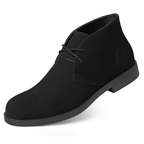 - Suede Chukka Boots for Men-Lace Up Desert Boots Ankle Casual Boots Stylish Street Walking Shoes Black 12