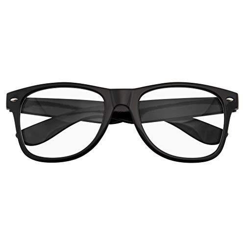 Emblem Eyewear - Nerd Black Horned Rim Glasses Glossy Clear Lens