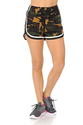 (Auliné Collection Womens Sports Exercise Workout Fitness Gym Yoga Running Shorts Camo SM)