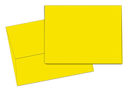 40 Blank Note Cards - Sunshine Yellow - Matching Color Envelopes ()