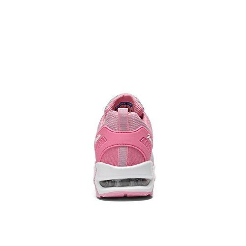 LILY999 Zapatos de Deportivas de Running para Mujer Gimnasia Ligero Malla Air Cushion Sneakers Aire Libre Fitness Zapatos Gris/Rosa