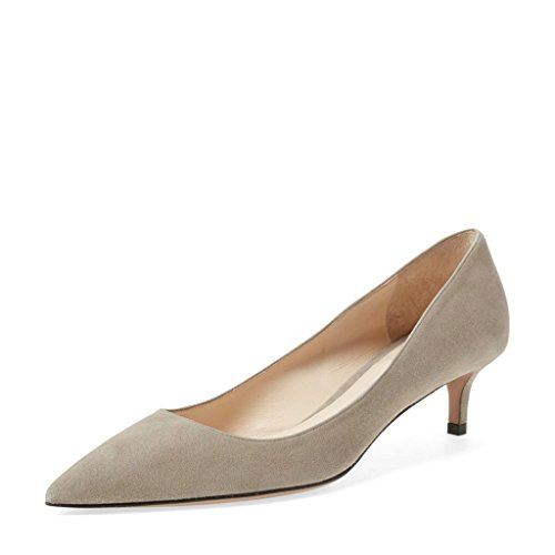 06536007 YDN Women Low Kitten Heel Pumps Pointed Toe Dress Shoes for Office Lady  Soft Suede