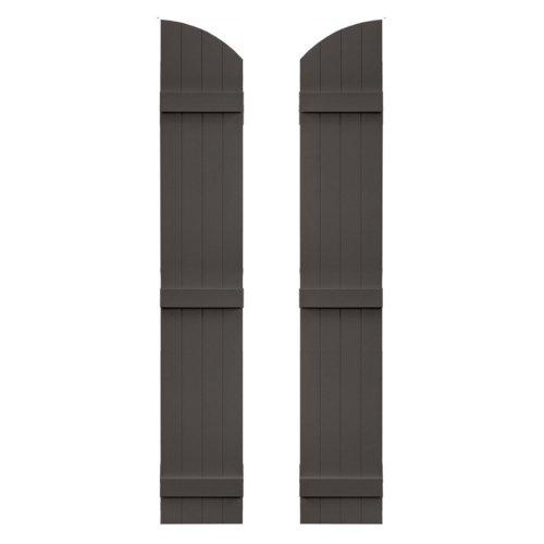 (Builders Edge 14 in. x 53 in. Board-N-Batten Shutters Pair, Four Boards Joined with Arch Top #018 Tuxedo Grey)