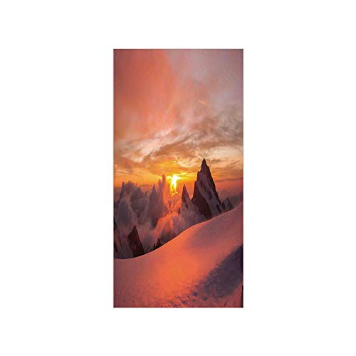 (Decorative Privacy Window Film/Sunrise in Swiss Alps with Magical View of Mountain Natural Paradise/No-Glue Self Static Cling for Home Bedroom Bathroom Kitchen Office Decor White)