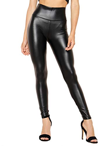 Women Sexy Tight Fit Faux PU Leather High Waist Leggings (Black, S)