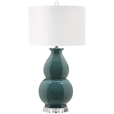 Safavieh Lighting Collection Juniper White and Egg Blue Base Table Lamp