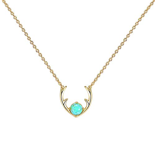 PAVOI 14K Gold Plated Green Opal Deer Antler Necklace 16-18