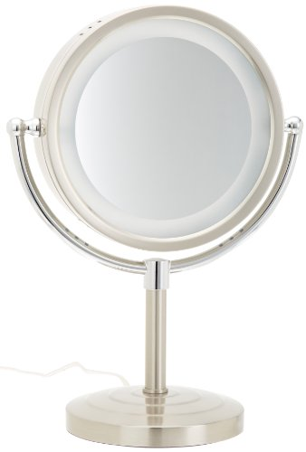 Jerdon HL745NC 8.5-Inch Halo Lighted Vanity Mirror with 5x Magnification, Nickel and Chrome Finish