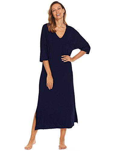Ekouaer Women Sleep Gown V-Neck 3/4 Sleeve Split Hem Solid Lounge Dress,Purplish Blue Navy,Medium ()