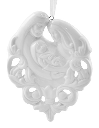 Holy Family Nativity White Ceramic Christmas Ornament by Midwest-CBK