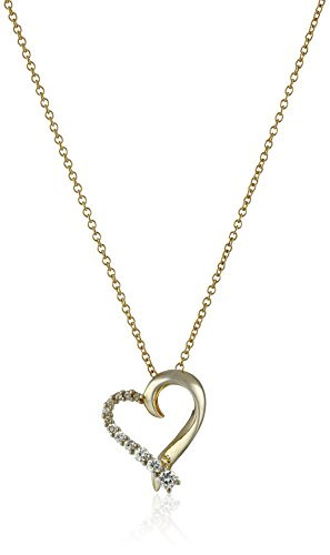 Sterling Silver with Yellow Gold Plating Cubic Zirconia Heart Pendant Necklace, 18