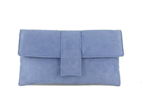 Mariage en de Lavender Daim Elegant Sac Sac d'Épaule Sac Pochette Bluebell à Blue Faux Main Soirée de OYx6vH