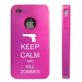 Apple iPhone 4 4S Hot Pink D5569 Aluminum & Silicone Case Cover Keep Calm and Kill Zombies Gun