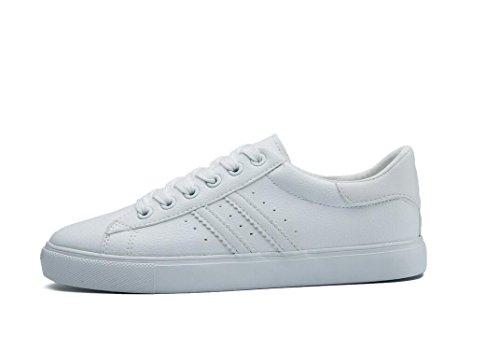 SHFANG Señora Zapatos Simple Pequeños zapatos blancos Pu Ocio Movimiento Estudiantes Escuela Diario Correr Cuatro colores White
