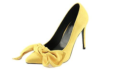 Shoes Calaier Women Toe Yellow Court Pointed On 12CM Slip Caoumc Stiletto U4Uqwazx