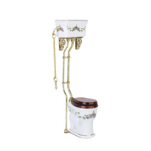 Vintage British Victorian Style Bathroom Porcelain Toilet Dollhouse Miniature