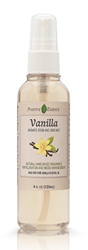 (Positive Essence Vanilla Linen & Room Spray, Natural Aromatic Mist Made with Pure Vanilla Essential Oil, Relax Your Body & Mind, Perfect as a Bathroom Air Freshener Odor Eliminator)