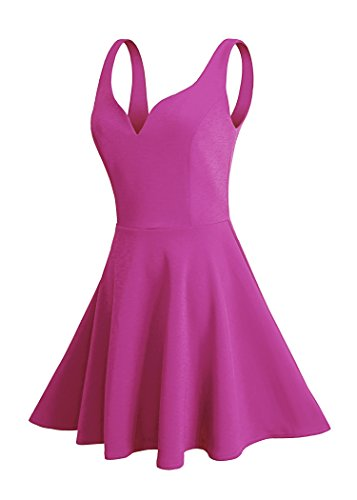 Missufe Women's Sleeveless Sweetheart Flared Mini Dress (xl, rose red)