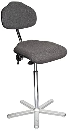 """Milagon Neutra WS1611-G Gray Workseat on Cast Aluminum 5 Star Base Electrostatic Chair with Conductive Glides, High Profile, 24""""-34"""" Adjustment Height"""
