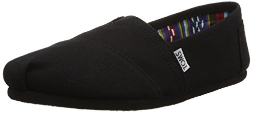 Toms Women's 10002472 Canvas Alpargata Flat, Black, 9.5 M US