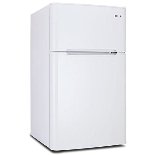 DELLA 3.2 Cubic Feet Compact Two Door Mini Fridge Refrigerator Freestanding Door Fridge Dorm with Freezer, White