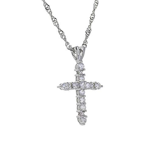 (Roma Designer Jewelry Adjustable Milano Twist Chain + Brilliant CZ Cross Set)