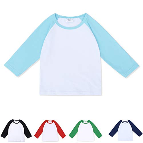 - CloudCreator Toddler Baby Girls Boys Long Sleeve Shirts Raglan Shirt Baseball Tee Cotton T-Shirt Blue