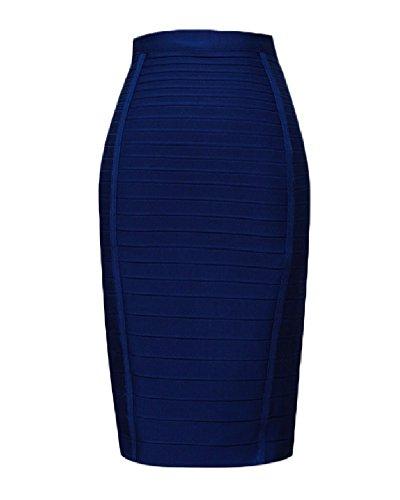 whoinshop Women's Stretchy Slim Fit Midi Pencil Skirt with Zipper Blue M (Bandage Skirt Long)
