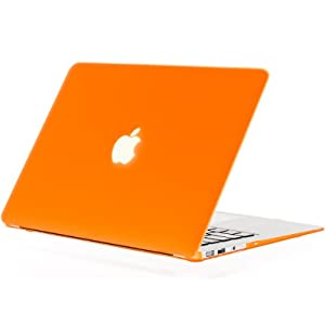 "Kuzy - AIR 13-inch ORANGE Rubberized Hard Case for MacBook Air 13.3"" (A1466 & A1369) (NEWEST VERSION) Shell Cover - Orange"