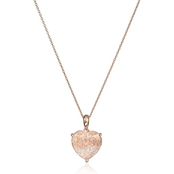 """Sterling Silver with Rose Gold Created White Sapphire and Clear Crystal Heart Pendant Necklace, 18"""""""