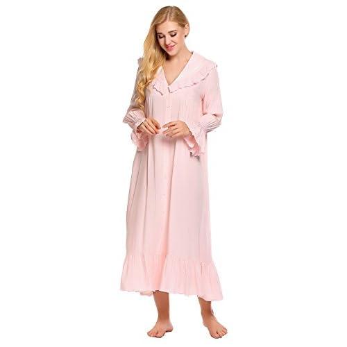 ab6cf6f03f Ekouaer Lace Victorian Nightgown Cotton Long Sleeve Sleepwear For Women