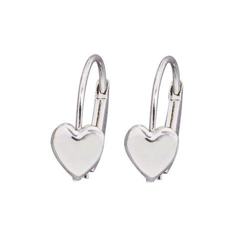 14k White Gold Dangle Earrings - 14k White Gold Heart Leverback Girls Earrings
