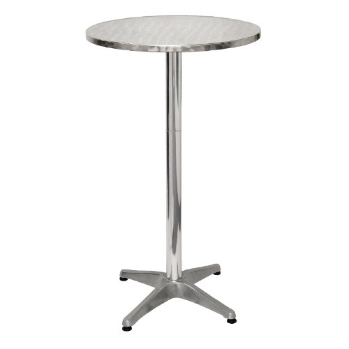 Bolero U502 Poseur Table, Stainless Steel Surface with Aluminium Alloy Base, 600 mm Diameter Nisbets