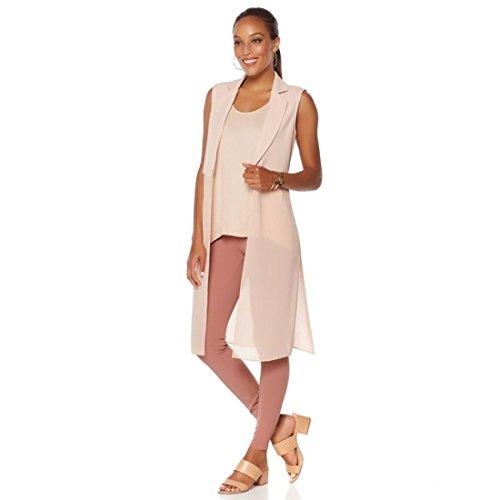 Nene Nene Leakes Georgette Crepe Jersey Maxi Vest Side Slits Blush L New 532-227 Side Slit Georgette