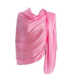 Cyzlann Women's Scarves 100% Silk Long Lightweight Scarfs for Women (dark pink)