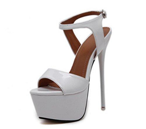 Aguja Outcrop Nightclub White Sexy 39 Mujer Plataforma Alto 34 Hollow Tacón Nvxie Zapatos Sandalias De wqpvtxgA