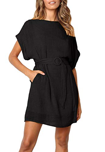 Yingkis Belted Dress for Women Black Shift Dress Short Sleeve Summer Dress Open-Back,Black L