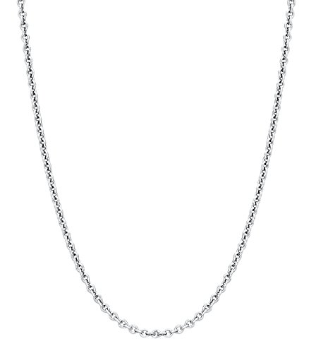 Round Cable Chain - 925 Sterling Silver Italian 1.2mm Magic Round Cable Chain (Rolo) Crafted Necklace Thin Lightweight Strong -Spring Ring Clasp (30.0 inches)