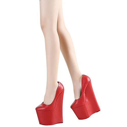 OCHENTA Femme Escarpin Chaussures Talon Compense Platforme Epais Pointure Grande Sexy Rouge FMhFzEa