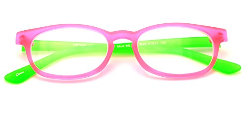 V.W.E. Fun Neon Color Spherical Frame Readers Reading Glasses - Matte Translucent Rubberized Finish (Pink/Green, 2.00)