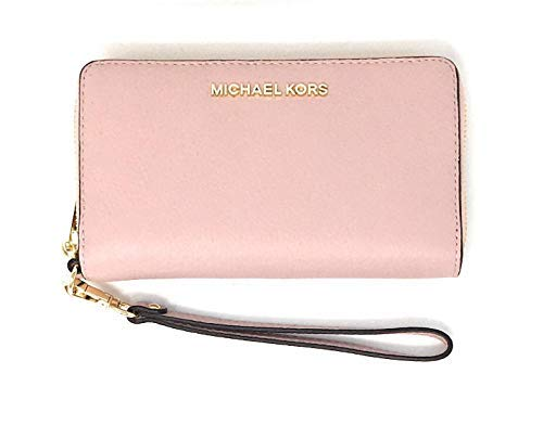 Michael Kors Jet Set Travel Large Flat Multifunction Phone Case Wristlet Pebble Leather (Blossom)