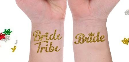 Bride tribe temporary tattoos set of 15 bachelorette for Wash off temporary tattoos