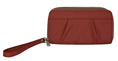 Wristlet Travelon (Travelon Pleated Double Zip Clutch, Cayenne)