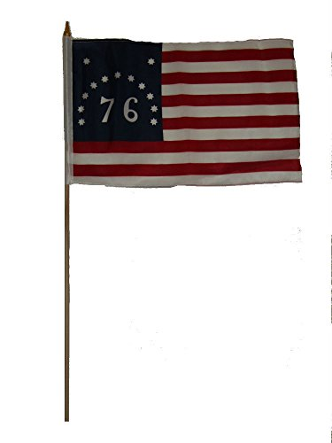 - ALBATROS 12 inch x 18 inch (6 Pack) Historical Bennington 1776 30in Stick Flag for Home and Parades, Official Party, All Weather Indoors Outdoors