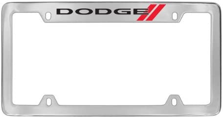 Dodge Logo Chrome Plated Metal License Plate Frame Holder